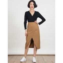 Camel Wrap Front Midi Pencil Skirt