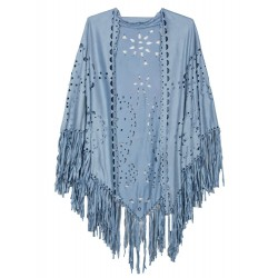 Light Blue Suedette Laser Cut Fringed Cape