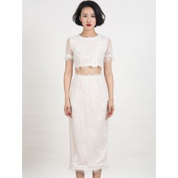 White Lace Sheer Crop Top And High Waist Split Skirt