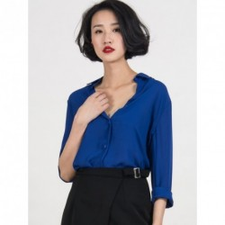 Blue Chiffon Long Sleeve Pointed Collar Shirt