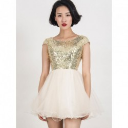 Gold Sequined Tulle Cap Sleeve Dress