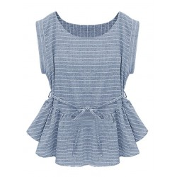 Light Blue Stripe Tie Waist Peplum Blouse