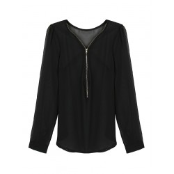 V Neck Zipper Front Long Sleeved Chiffon Blouse