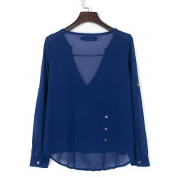 Royal Blue V Neck Button Detail Dip Back Blouse