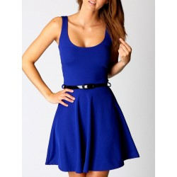 Royalblue Sleeveless Skater Mini Dress With Belt
