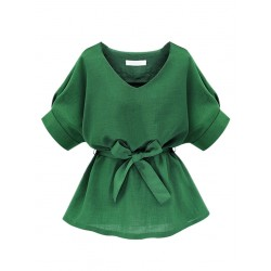 Plus Size Green V Neck Bow Tie Short Sleeve Blouse
