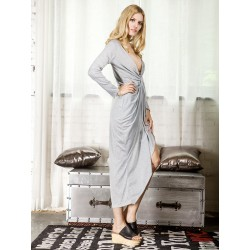 Gray Wrap High Low Ruched Asymmetric Dress