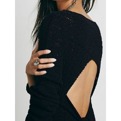 Black Open Back Bowknot Detail Knit Sweater