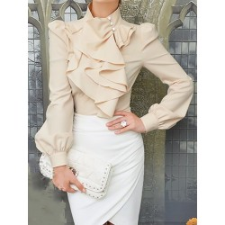 Beige High Neck Blouse with Ruffle Front