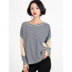 Stripe Mesh Panel Long Sleeve T-Shirt