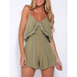 Olive Green Coin Drop Romper Playsuit