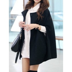 Black Wool Blend Cape Coat