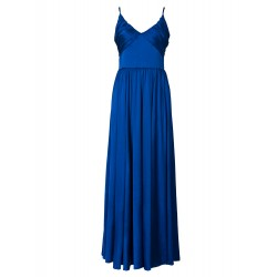 Blue V Neck Pleat Detail Split Cami Maxi Dress