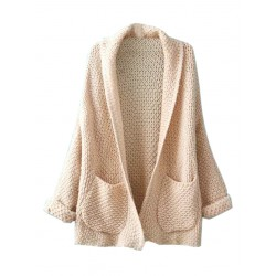 Beige Lapel Long Sleeve Knit Cardigan