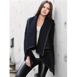Navy Zipper Detail Asymmetrical Trim Waterfall Coat