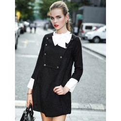 Black Contrast Bow Neck Long Sleeve Woolen A-Line Dress