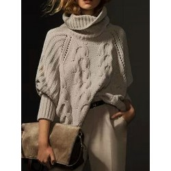 Khaki High Neck Chunky Cable Long Sleeve Sweater