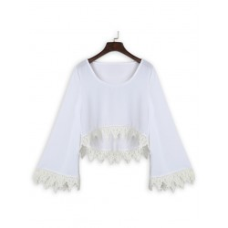 White Crochet Trims Flare Sleeve Crop Top