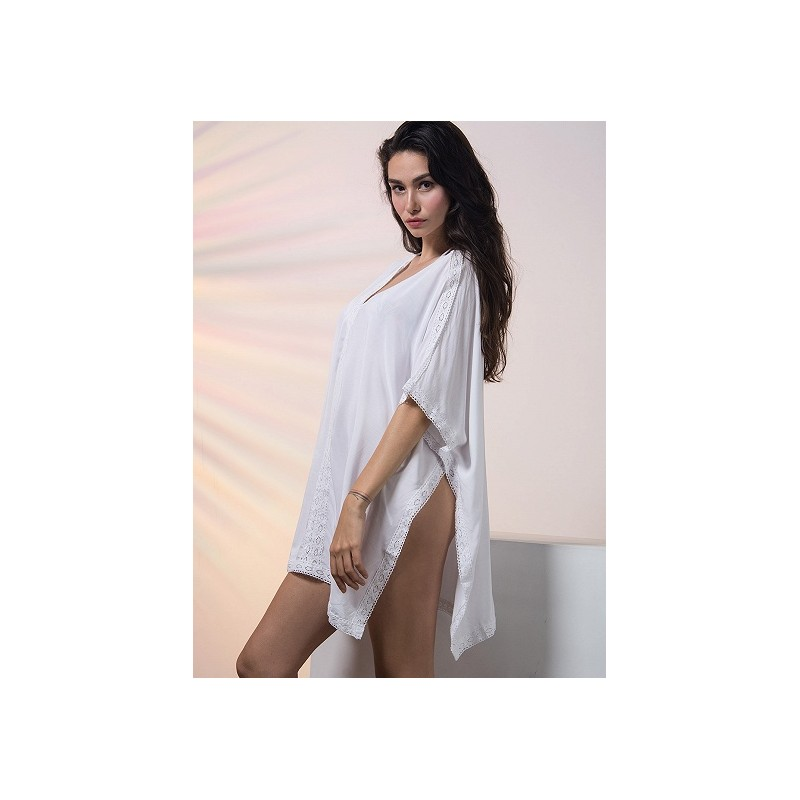 db01b0080b12e White Oversized V-Neck Poncho Beach Cover Up - LAZAARA