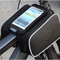 Waterproof Roswheel 1.8L Cycling Bike Bicycle Front Frame Bag Tube Pannier Double Pouch for 5 Inch Cellphone