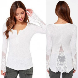 Women Cotton Lace Long Sleeve Blouse