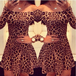 Women Leopard Cocktail Mini Short Dress