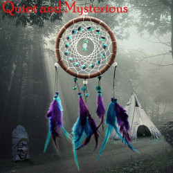 Dream Catcher Net with natural turquoise feathers
