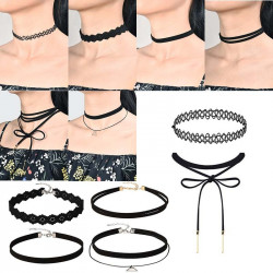 6 Black fashionable necklaces