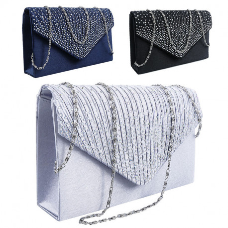 Evening Bridal Satin Diamante Clutch Bag