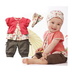 Baby Outfit Set Toddler Short Top+Pants+Headband