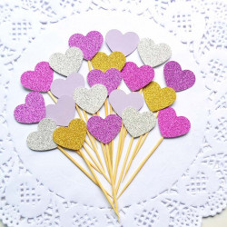 Lovely Heart Cupcake Toppers 20 Pcs