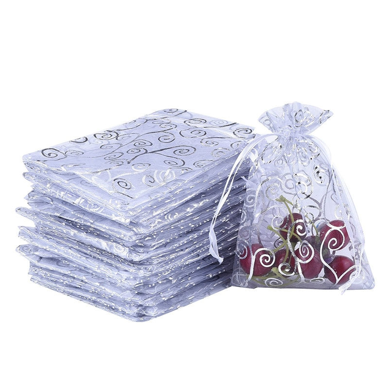 50 White Organza Gift Bags