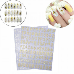 Golden and Silver 3D Flower Nail Art Stickers