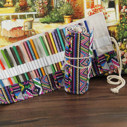 Canvas Wrap Roll Up Pencil Pen Bag