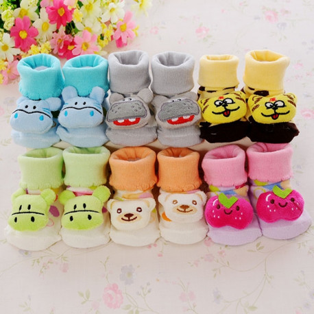 6 Pair Cartoon Cotton Non-Slip Baby Socks