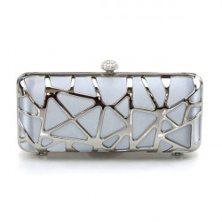 Extravagant Clutch with Steel Metal and Silk