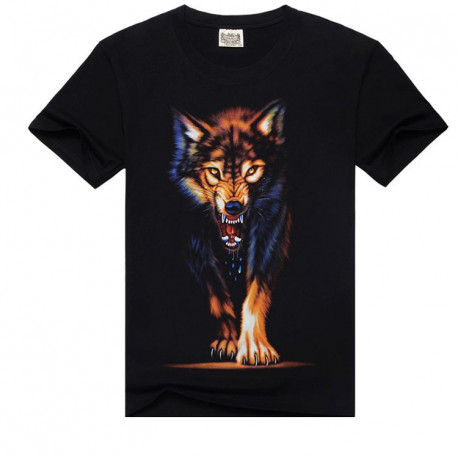 Men Black Cotton T-shirt Shirt of Colourful Wolf Printing
