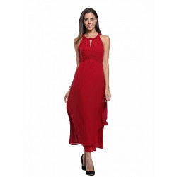 Halter Cut Out High Waist Ruched Chiffon Maxi Dress