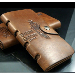 Men's Leather Long Wallet Pockets ID Card