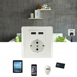Flush Socket with 2 USB Charger Adpter