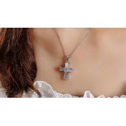 Cubic Zircon Cross Pendant Necklace