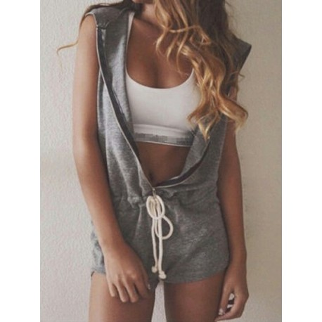 Gray Zip Front Drawstring Waist Hooded Romper Playsuit