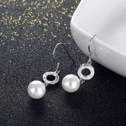 Pearl Earrings with Zircon in 925 Sterling Silver