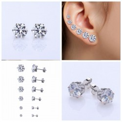 6 Pairs Set Zircon Earrings