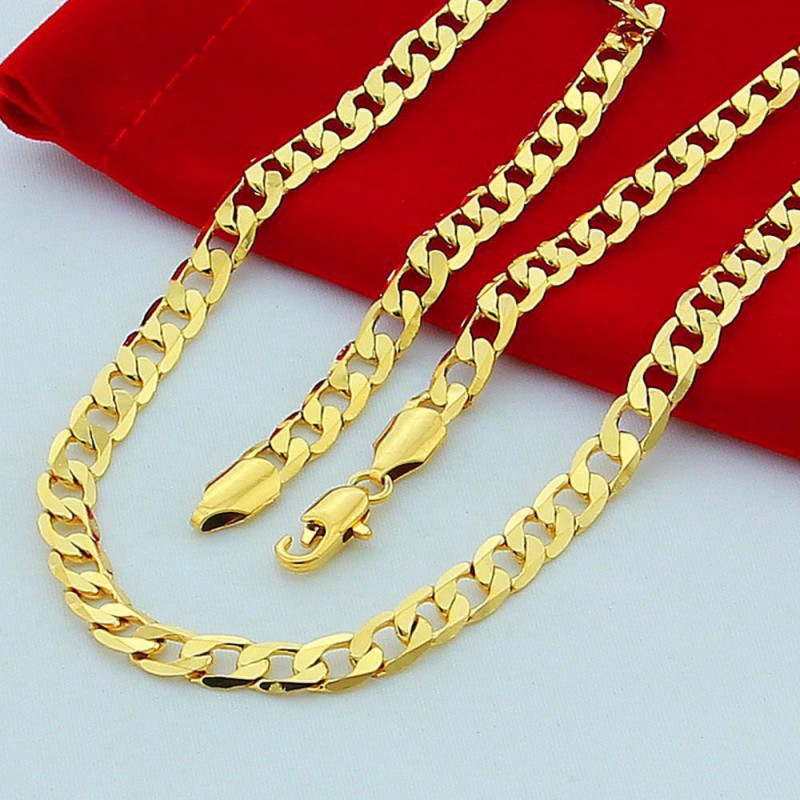 Cadenas De Oro Italiano 14k: 18K Yellow Gold Plated Men Chain Necklace