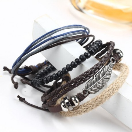 Leather Braided Surfer Wristband