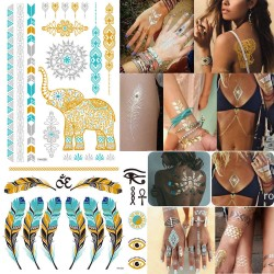 10 Sheet Flash Metallic Tattoo Sticker