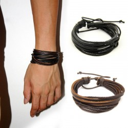 Handmade Braided Leather Wristband