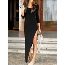 Black 3/4 Sleeve Plain Asymmetric Bodycon Dress