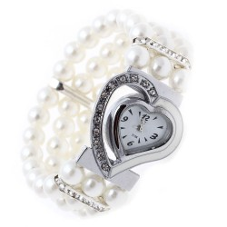 Ladies Pearl Heart Wrist Watch